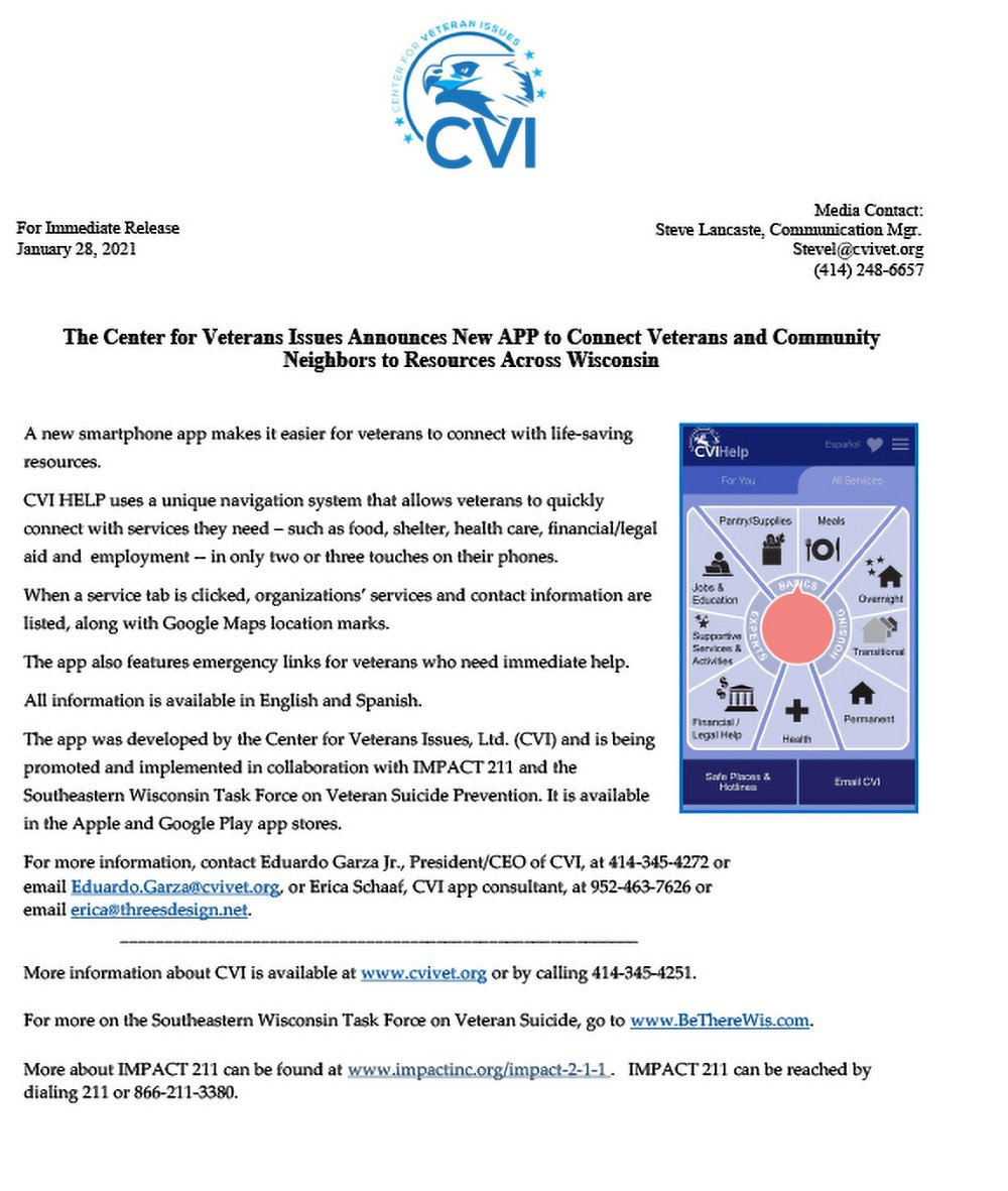 CVIHelp App Press Release January 28 2021