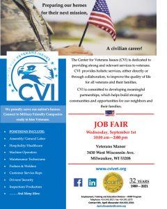 CVI Job Fair for Veterans September 1, 2021